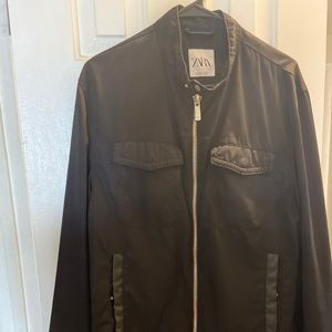 Men's lightweight leather detail jacket